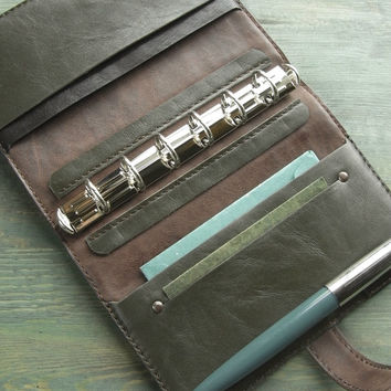 handstitched leather binder - military green dark brown, pocket planner organizer, refillable notebook, for filofax pocket size inserts