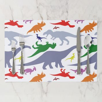 Colorful Dinosaur Pattern (Light) Paper Placemat