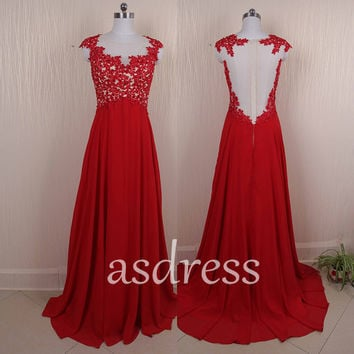New Lace Pageant Dress Backless Homecoming dress Cocktail Red Long Dress Cap Sleeve Bridal Lace Gown Chiffon Bridesmaid dress Custom US size