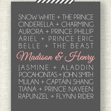 "DISNEY PRINCESS COUPLES - 11"" x 14"" Custom Designed Wall Art - Disney Princess and their Princes with your names added in"