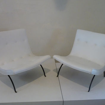 Pair of Milo Baughman Scoop Chairs Baughman for Thayer Coggin Mid Century Mod Chair Groovy Chair White Vinyl Mod Chair