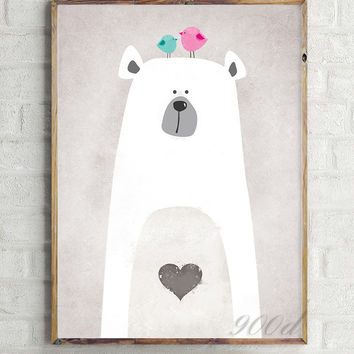 Cartoon Cute Polar Bear Canvas Art Print Painting Poster,  Wall Picture for Home Decoration,  Wall Decor FA400-4