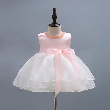 new baby girl dress pink necklace ball gown girls birthday party dress big bow white layered yarn tutu vestido infantil 3-24M