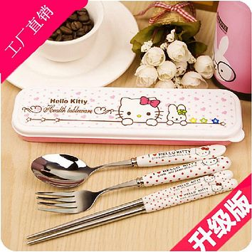 Keythemelife Tableware Lunch Set Kawaii Hello kitty Porcelain Baby girl boy stainless steel ceramics Dinnerware DA