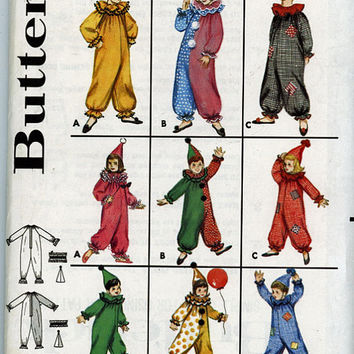 Vintage Costume Pattern - Clown Suit and Hat - Children's Costume Pattern - Butterick Pattern - Before 1963
