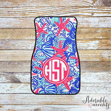 Monogrammed Lilly Pulitzer Inspired Car Mats - She She Shells