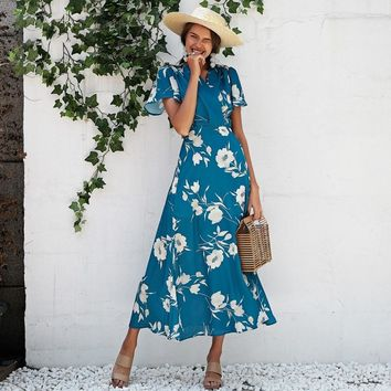 Ruffle short sleeve boho floral print long maxi dress