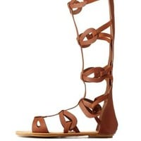 Tan Bamboo Looped Tall Gladiator Sandals by Bamboo at Charlotte Russe