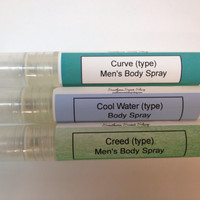 Men's Body Spray- Set of 3- Curve, Cool Water, Creed (types) Great Gift!