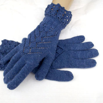 knitted wool gloves, knit blue lace gloves, women's gloves with fingers, crocheted gloves, hand warmers, knitting accessories, hand muffs
