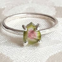 Small Watermelon Tourmaline Crystal Slice Stacking Ring - Delicate Tourmaline Ring - Stackable Rings - Sterling Silver - Raw Crystal Ring