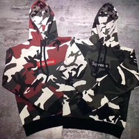 Supreme Box Logo Pullover Hoodie Camouflage Hooded Top Sweater