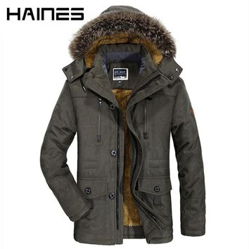 HAINES Winter Bomber Jacket Men Fashion Fur Hooded Military Jackets Thicken Warm Windproof Windbreaker jaqueta masculina