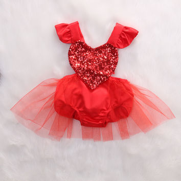 Fahion Newborn Baby Girl Red Sequins Love Heart Romper Lace Tutu Jumpsuit Outfits Sunsuit