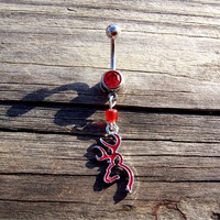 Browning Deer Head Red Belly Ring Body Jewelry