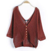 Fashion V-neck Brief Paragraph Sweater -Ds