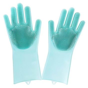 Magic Silicone Rubber Dish Washing Gloves Eco-Friendly Scrubber Cleaning Brush For Kitchen Bed Bathroom Hair Care