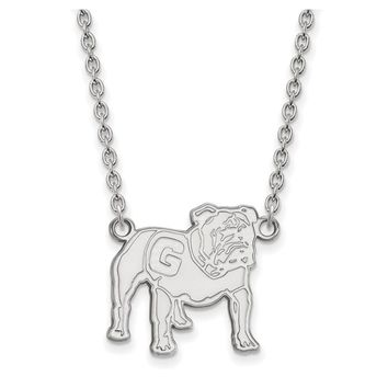NCAA 10k White Gold U of Georgia Large Pendant Necklace