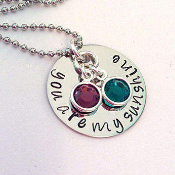 You are my Sunshine Necklace hand stamped with Swarovski Crystal Birthstones