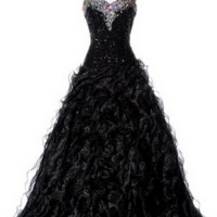 KC131532 Black Sequin Prom Full Ballgown by Kari Chang Couture