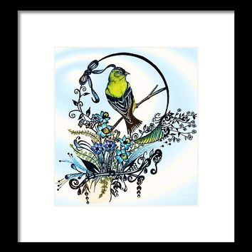Pen And Ink Art, Colorful Goldfinch, Watercolor And Digital Art, Wall Art, Home Decor Design Framed Print
