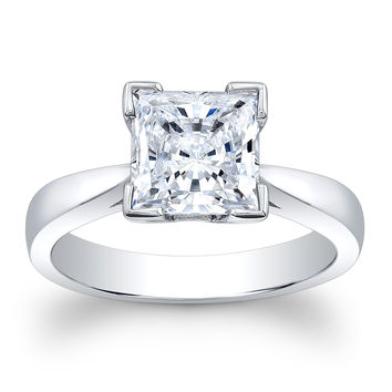 Ladies 14kt white gold engagement ring solitaire with 2 ct Princess Cut Forever Brilliant Moissanite Center gemstone