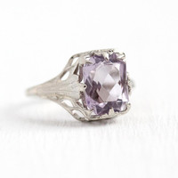 Vintage Amethyst Ring - 10k White Gold Filigree Rose De France Amethyst February Birthstone - Size 4 Art Deco 1930s Gemstone Fine Jewelry