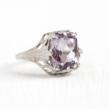 Vintage Amethyst Ring - 10k White Gold Filigree Rose De France A be635c912
