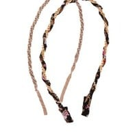 Twisted Chain & Fabric Headbands - 2 Pack