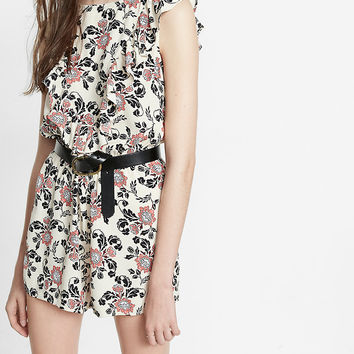 Floral Print Ruffle Front Romper