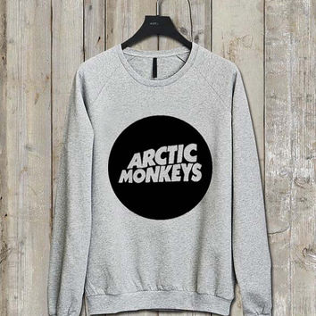 arctic monkey logo Music tee Ash Grey  Long Sleeve Crew Neck Pullover Sweatshirt