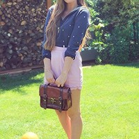 AsianiCandy Mori girl color block satchel/ Handbag/ Detached Strap/ Featured by CutiepieMarzia - Chocolate/Brown