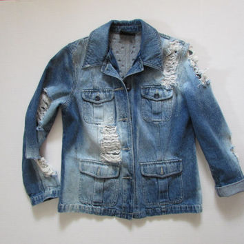 Embellished Denim Distressed Jacket