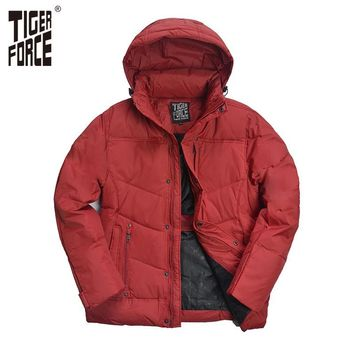 TIGER FORCE Hot Sale Men Down Jacket 70%White Duck Down Winter Jacket Down Coat With Hood Solid Zipper Free Shipping D-265