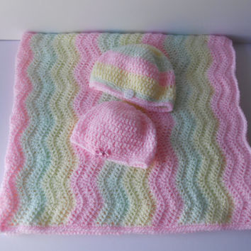 Baby Girl Gift Set. Crochet  Baby Girl Blanket and hat gift set. Pink, yellow, green baby blanket. Irish crochet blanket and hat set
