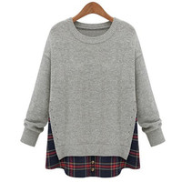 Gray V-Neck Long Sleeve Sweater