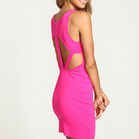 PINK CUT OUT PLUSH BODYCON DRESS