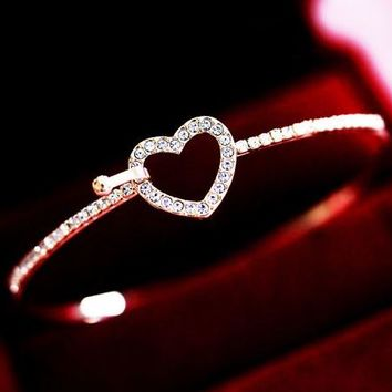 Heart Centered Rhinestone Front Hook Bangle - LilyFair Jewelry