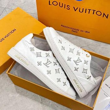 LV Louis Vuitton Fashionable Women Casual Leather Embroidery Sport Shoes Sneakers