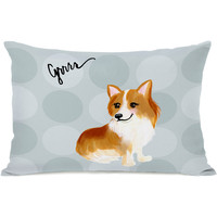 """Pup Words Corgi"" Indoor Throw Pillow by April Heather Art, 14""x20"""