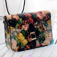 Fashion Women Painting Flowers Leather Crossbody Handbag Tote Bags Purse
