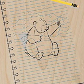 'Sketching Escape' Funny Bear Drawing Punching on Paper - Plywood Wood Print Poster Wall Art