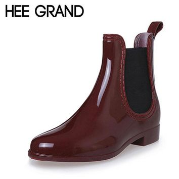 HEE GRAND Fashion Rain Boots Pointed Toe Women Rubber Boots Slip On Ankle Boots Casual