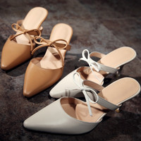Stylish Summer Design Pointed Toe Leather Butterfly High Heel Shoes Sandals [4919876612]