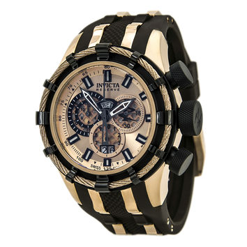 Invicta 80666 Men's Bolt Chronograph Rose Gold Dial Brown Rubber Strap Dive Watch