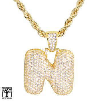 "Jewelry Kay style N Initial Custom Bubble Letter Gold Plated Iced CZ Pendant 24"" Chain Necklace"