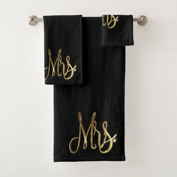 Mrs. Black and Gold Look Elegant Typography Bath Towel Set