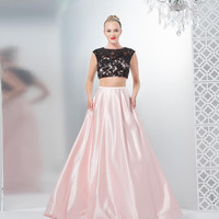 COLORS 1481 Black Pink Lace Satin Two Piece Prom Dress