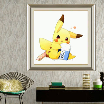 DIY Diamond Embroidery Painting Children's Toy Game Pika Pikachu Pokemon Hand Made Cross Stitch for Kids Room Decoration Gift