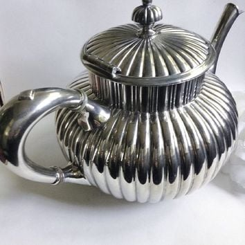 Antique Silver Teapot, SilverTea Pot, Antique Tea Server, Quadruple Silver, Silver TableWare ,Quadruple Silver Tea Pot, Collector Tea  Pot